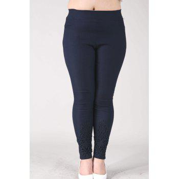 Casual Women's High-Waisted Lace Embellished Plus Size Pants