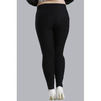 Casual Women's High-Waisted Lace Embellished Plus Size Pants - BLACK BLACK