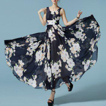 Elegant Sleeveless Scoop Neck Pleated Floral Print Women's Chiffon Dress