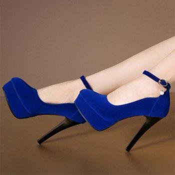 Stylish Flock and Ankle Strap Design Women's Pumps - 37 37