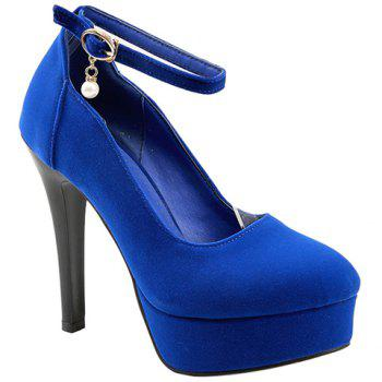 Stylish Flock and Ankle Strap Design Women's Pumps - BLUE 39