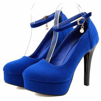 Stylish Flock and Ankle Strap Design Women's Pumps - 39 39