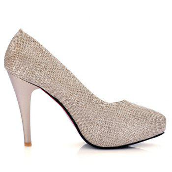 Fashionable Platform and Sequined Cloth Design Women's Pumps - GOLDEN 39