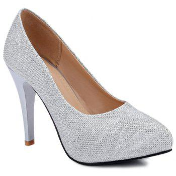 Fashionable Platform and Sequined Cloth Design Women's Pumps - SILVER 39