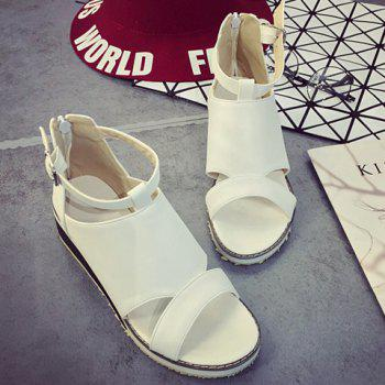 Fashion Wedge Heel and PU Leather Design Sandals For Women - WHITE 39