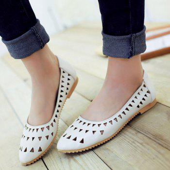Leisure Hollow Out and Solid Colour Design Women's Flat Shoes - 39 39