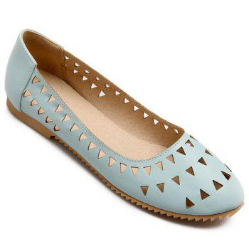 Leisure Hollow Out and Solid Colour Design Women's Flat Shoes - LIGHT BLUE 37