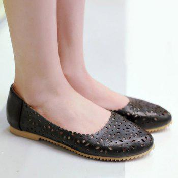 Simple Round Toe and Hollow Out Design Women's Flat Shoes - 39 39