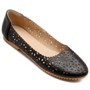 Simple Round Toe and Hollow Out Design Women's Flat Shoes - BLACK BLACK