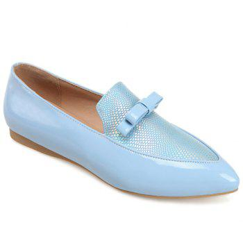 Casual Colour Block and Bow Design Women's Flat Shoes - LIGHT BLUE 39