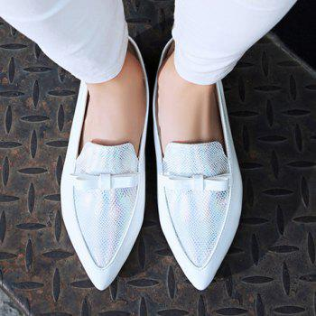Casual Colour Block and Bow Design Women's Flat Shoes - WHITE WHITE