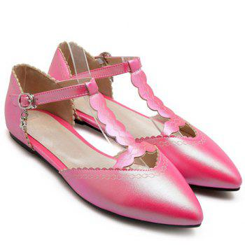 Sweet T-Strap and Pointed Toe Design Flat Shoes For Women - 38 38