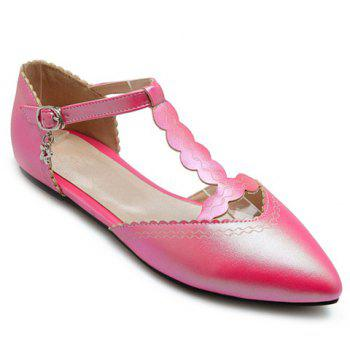Sweet T-Strap and Pointed Toe Design Flat Shoes For Women - RED RED