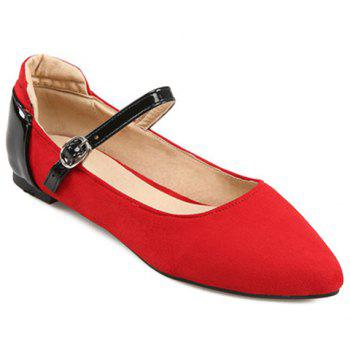 Fashionable Color Block and Suede Design Women's Flat Shoes