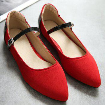 Fashionable Color Block and Suede Design Women's Flat Shoes - 39 39