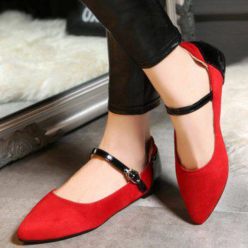 Fashionable Color Block and Suede Design Women's Flat Shoes - RED 39