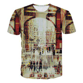 Modish Round Neck 3D Streetscape Pattern Short Sleeve Men's T-Shirt