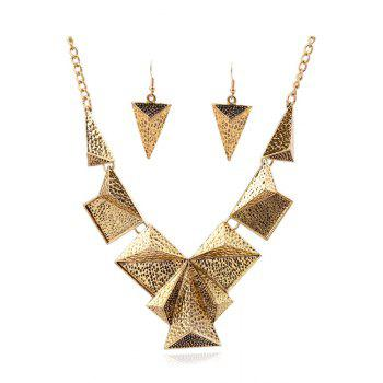 A Suit of Punk Triangle Necklace and Earrings - GOLDEN