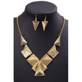 A Suit of Punk Triangle Necklace and Earrings