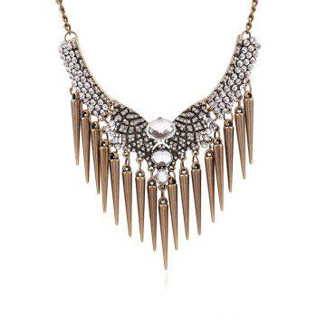 Rhinestone Faux Crystal Cone Fringed Necklace