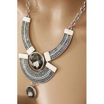 Faux Crystal Round Metal Arc Necklace