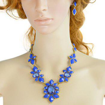 A Suit of Faux Crystal Floral Necklace and Earrings - BLUE