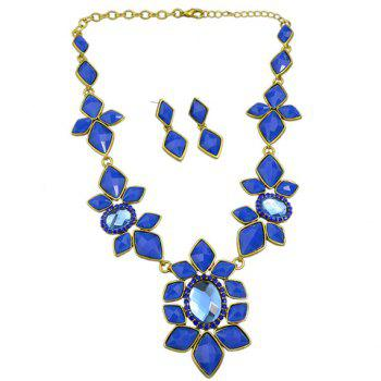 A Suit of Faux Crystal Floral Necklace and Earrings