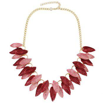 A Suit of Two Layered Matte Leaf Necklace and Earrings - RED