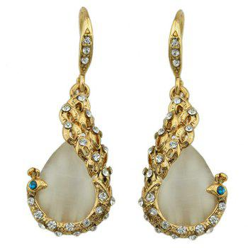 A Suit of Rhinestone Faux Opal Peacock Necklace and Earrings - GOLDEN