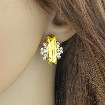 Pair of Faux Crystal Rhinestone Rectangle Earrings - YELLOW