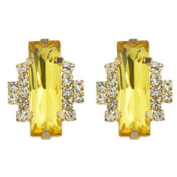 Pair of Faux Crystal Rhinestone Rectangle Earrings