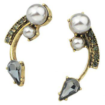 Pair of Arc Shape Faux Pearl Decorated Earrings - GOLDEN