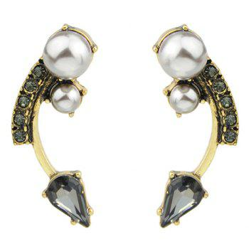 Pair of Arc Shape Faux Pearl Decorated Earrings