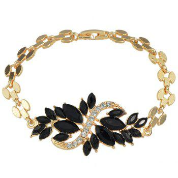 Leaf Shape Decorated Faux Crystal Bracelet