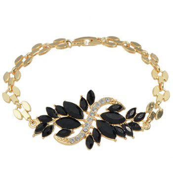 Leaf Shape Decorated Faux Crystal Bracelet - BLACK
