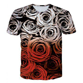 Buy Modish Round Neck 3D Roses Pattern Print Short Sleeve Men's T-Shirt COLORMIX
