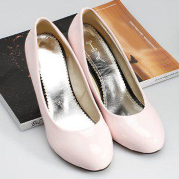 Fashionable Round Toe and Patent Leather Design Women's Wedge Shoes - 37 37