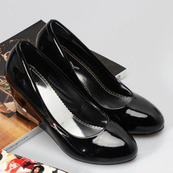 Fashionable Round Toe and Patent Leather Design Women's Wedge Shoes - 38 38