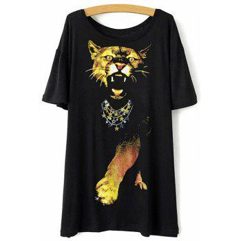 Casual Round Neck Short Sleeve Animal Print Women's Black T-Shirt