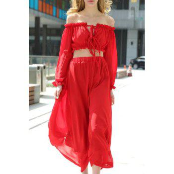 Stylish Off The Shoulder Crop Top and Solid Color Skirt Twinset For Women