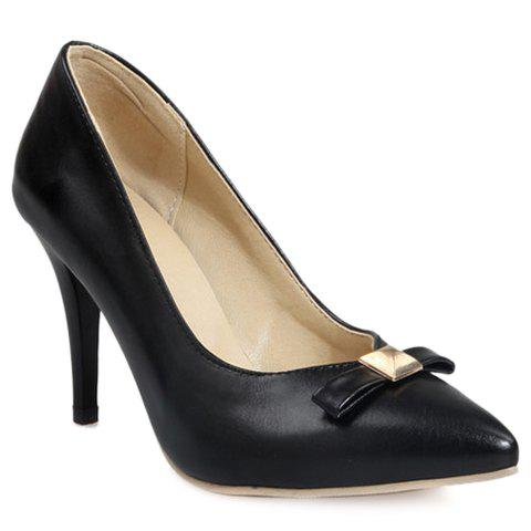 Sweet Bowknot and Pointed Toe Design Pumps For Women - BLACK 39