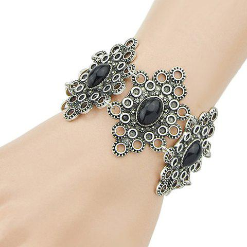 Vintage Oval Faux Gemstone Flower Shape Bracelet - BLACK