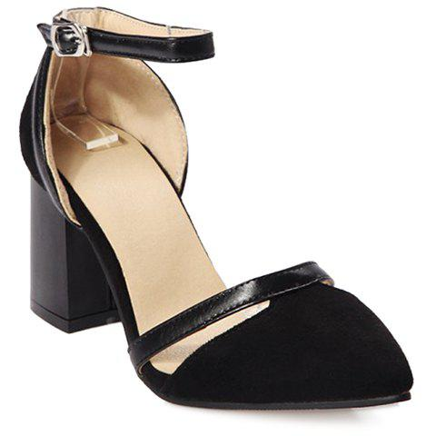 Fashion Chunky Heel and Suede Design Pumps For Women - BLACK 39