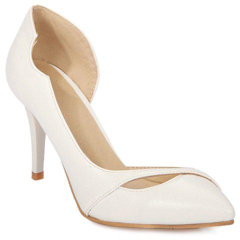 Sweet Pointed Toe and PU Leather Design Pumps For Women - WHITE 38