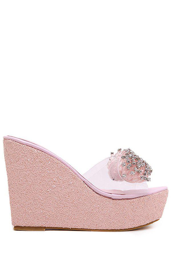 Bling Bling Rhinestone and Wedge Heel Design Slippers For WomenShoes<br><br><br>Size: 36<br>Color: PINK