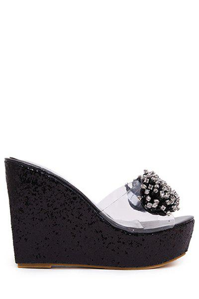Bling Bling Rhinestone and Wedge Heel Design Slippers For Women - BLACK 38