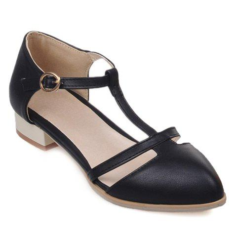 Sweet T-Strap and PU Leather Design Flat Shoes For Women - BLACK 39