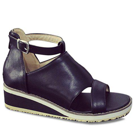 Fashion Wedge Heel and PU Leather Design Sandals For Women - BLACK 38