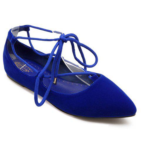 Sweet Pointed Toe and Tie Up Design Flat Shoes For Women - BLUE 39