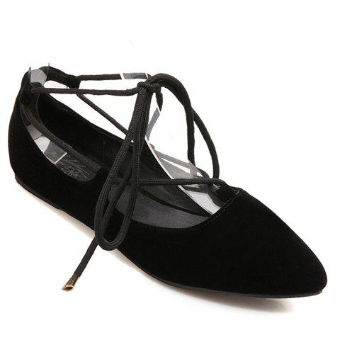 Sweet Pointed Toe and Tie Up Design Flat Shoes For Women - BLACK 34